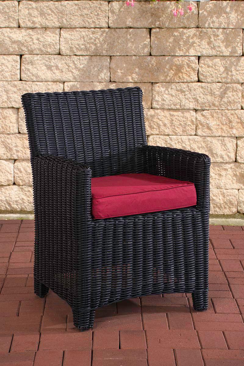 Polyrattan Sessel St. Augustin-rund/schwarz-Rubinrot | Wohnzimmer > Sessel > Rattansessel | Schwarz | Loraville