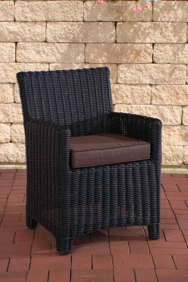 Polyrattan Sessel St. Augustin-rund/schwarz-Terrabraun | Wohnzimmer > Sessel > Rattansessel | Schwarz | Loraville