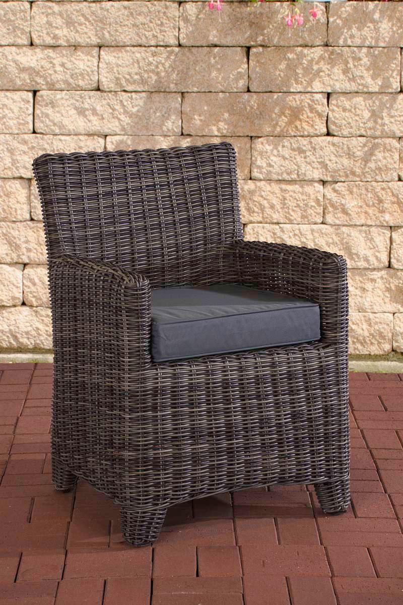 Polyrattan Sessel St. Augustin-rund/graumeliert-Eisengrau | Wohnzimmer > Sessel > Rattansessel | Loraville
