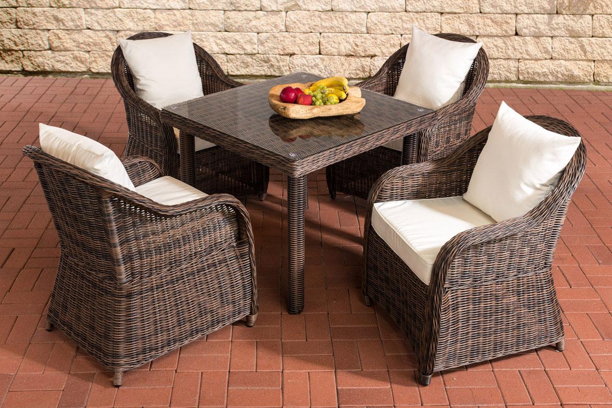 Sitzgruppe San Juan XL Klarglas-rund/braunmeliert-Cremeweiß