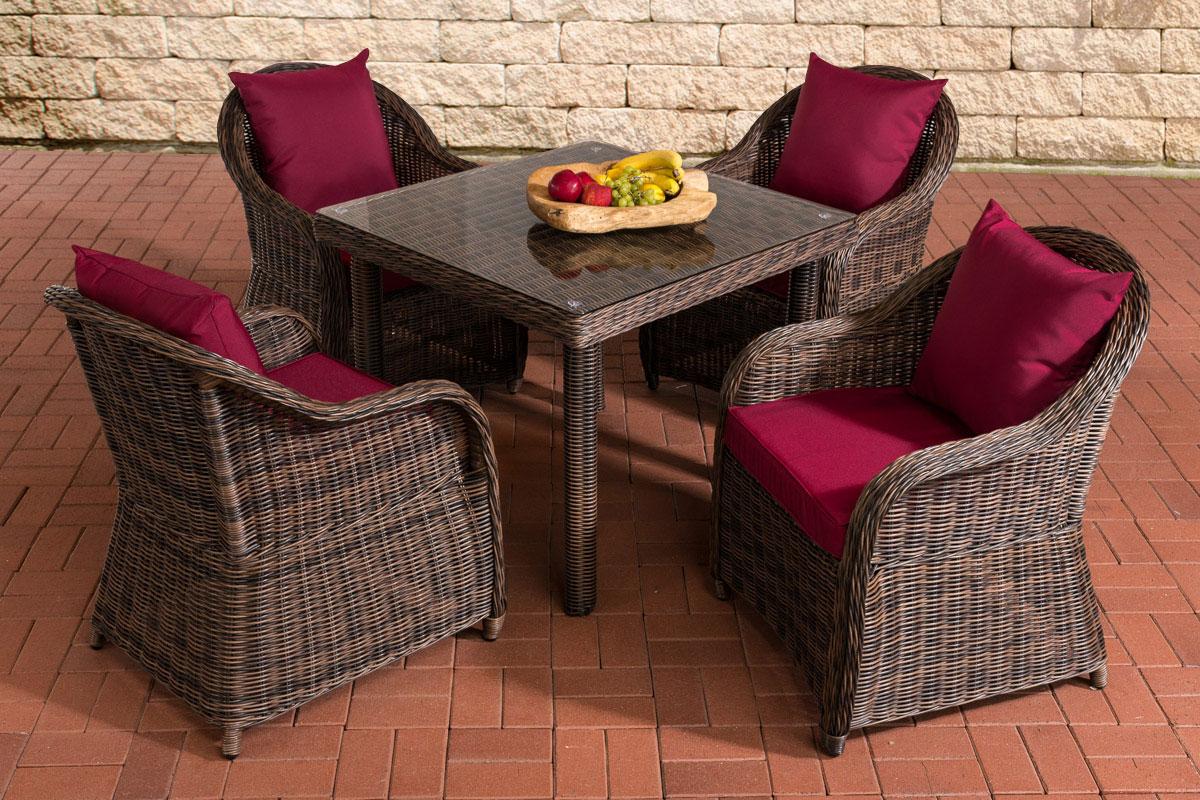Sitzgruppe San Juan XL Klarglas-rund/braunmeliert-Rubinrot