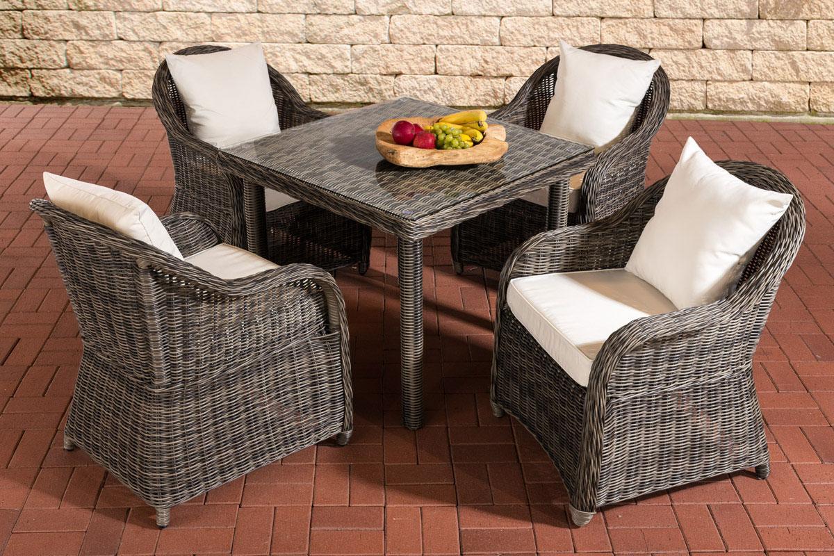 Sitzgruppe San Juan XL Klarglas-rund/graumeliert-Cremeweiß