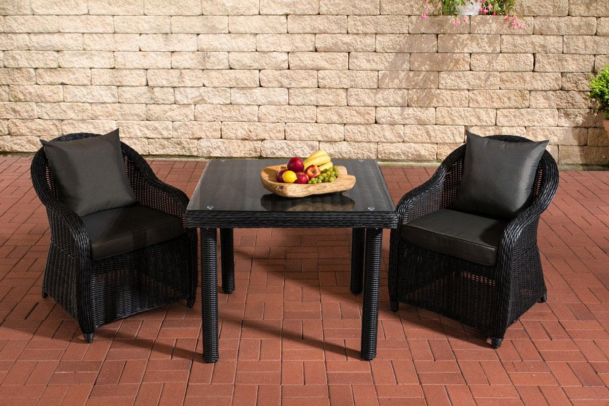Sitzgruppe San Juan Klarglas-rund/schwarz-90x90 cm-Anthrazit