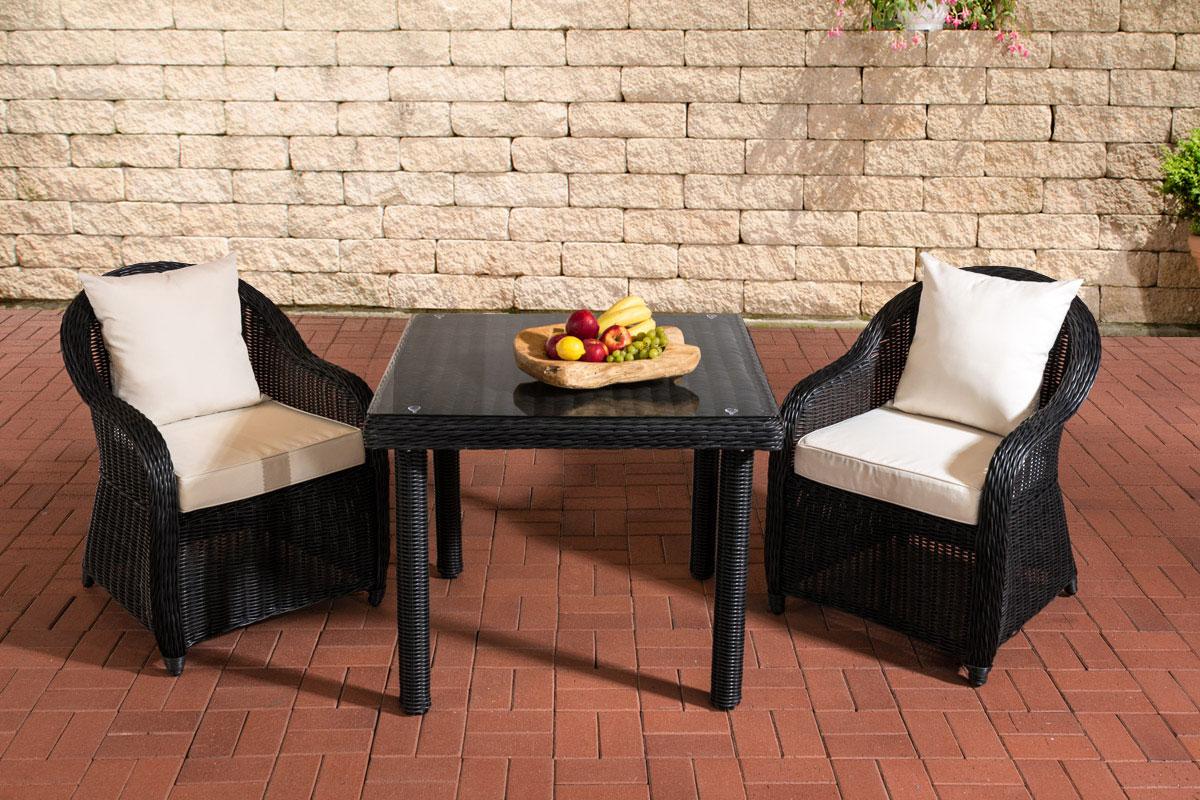 Sitzgruppe San Juan Klarglas-rund/schwarz-90x90 cm-Cremeweiß