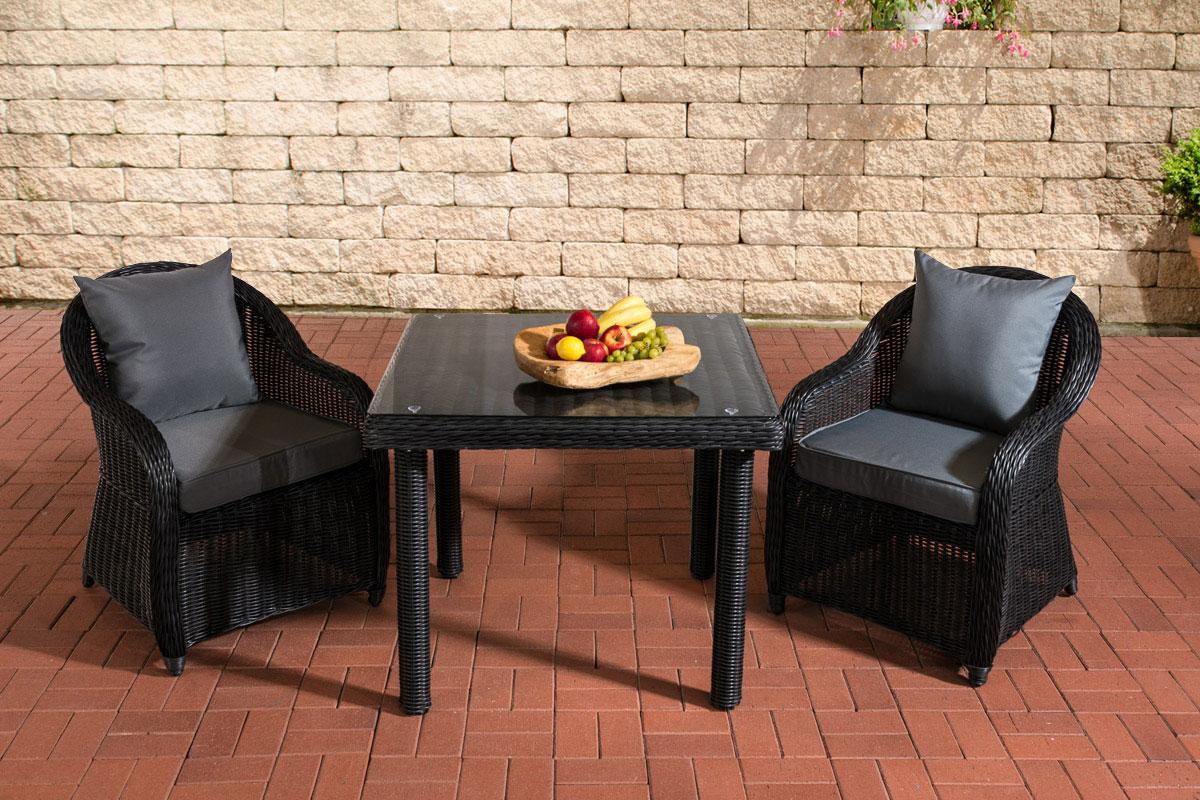Sitzgruppe San Juan Klarglas-rund/schwarz-90x90 cm-Eisengrau