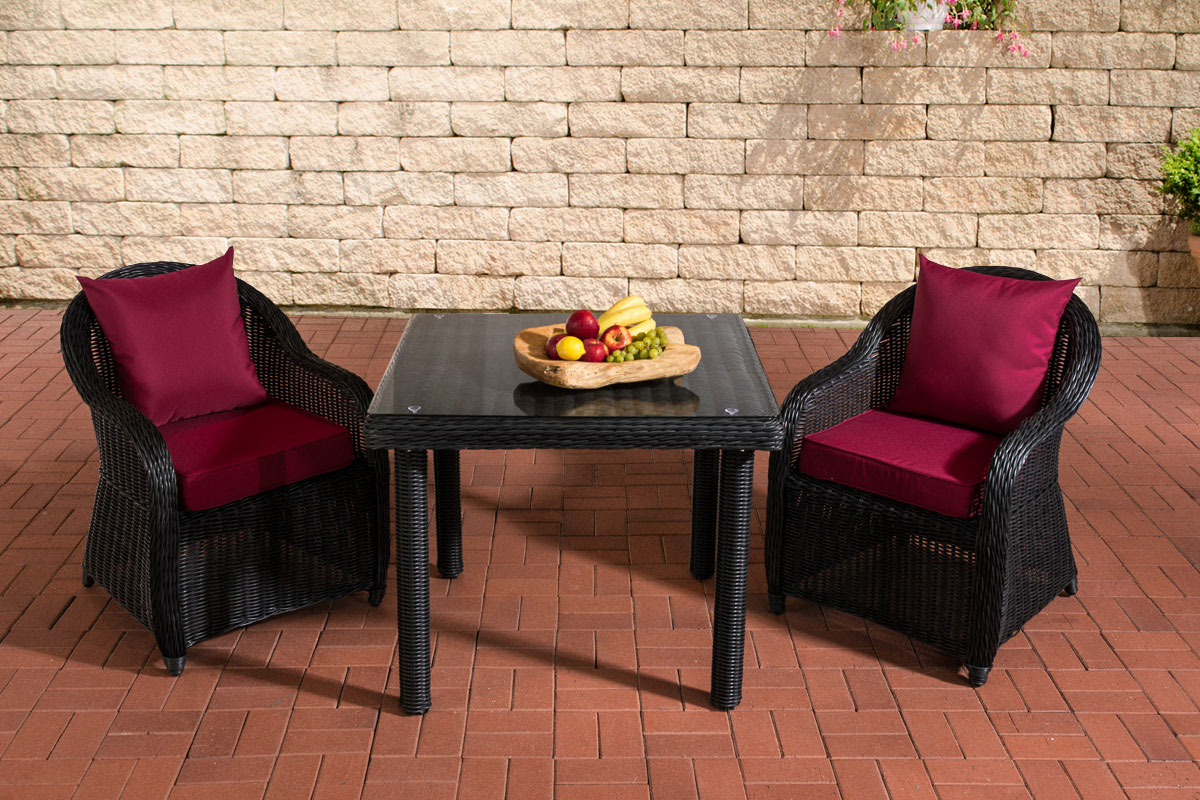 Sitzgruppe San Juan Klarglas-rund/schwarz-90x90 cm-Rubinrot