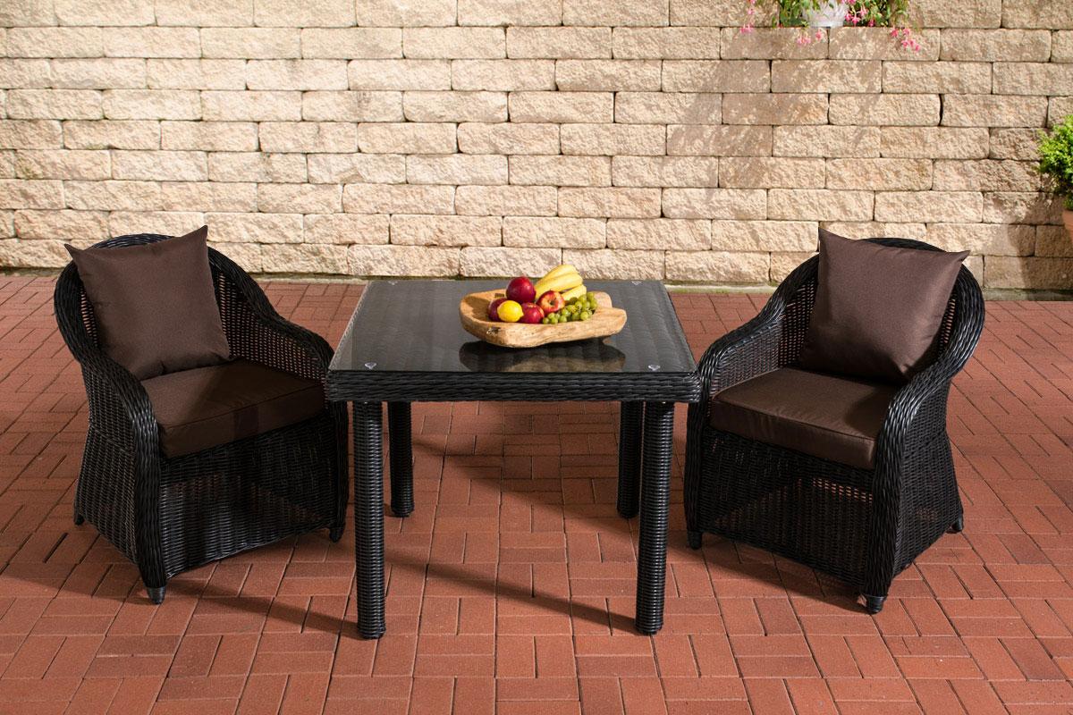 Sitzgruppe San Juan Klarglas-rund/schwarz-90x90 cm-Terrabraun