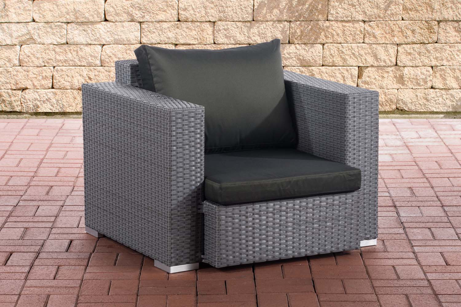 Sessel Provence / Sunset-grau/flach-Anthrazit | Wohnzimmer > Sessel > Loungesessel | Loraville