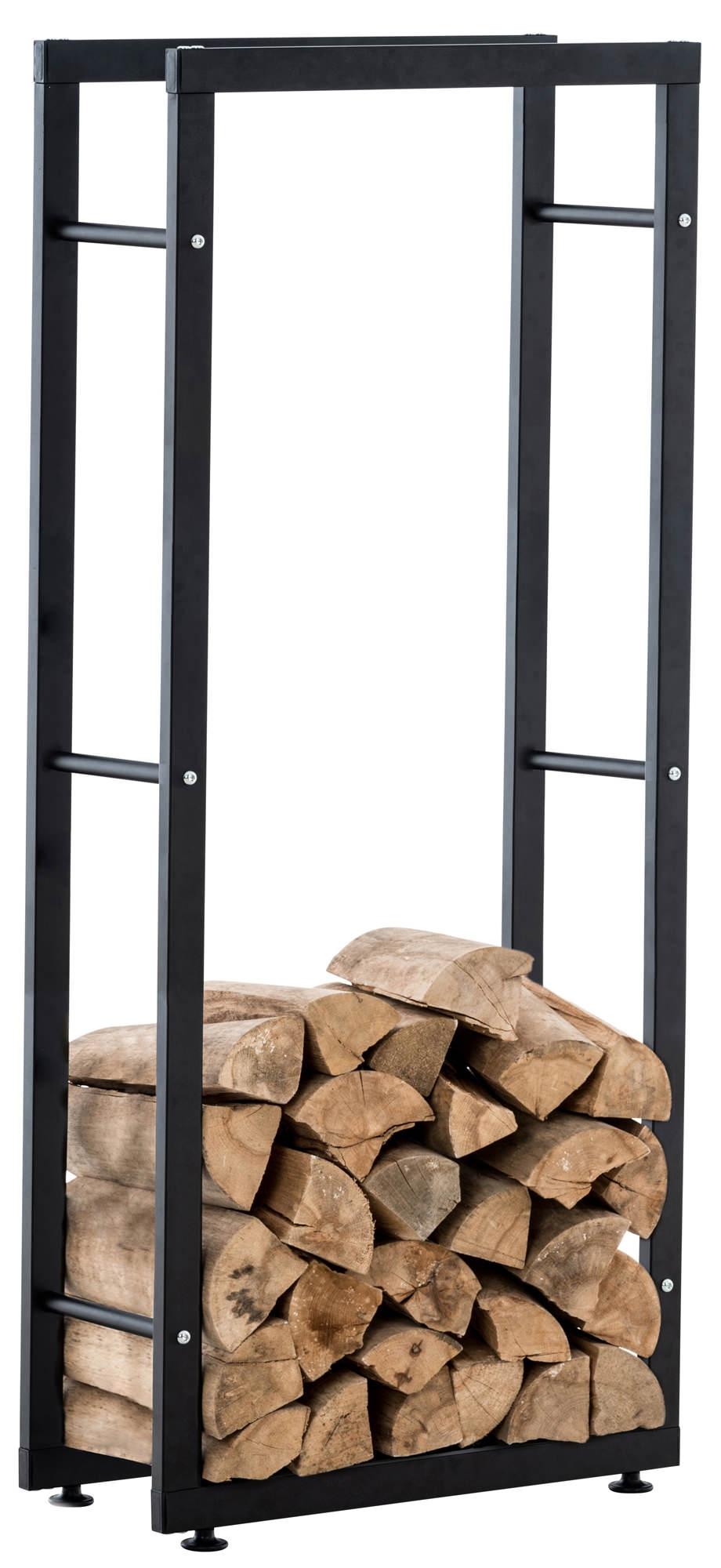 Kaminholzständer Keri V2-schwarz-25x40x100 cm günstig online kaufen