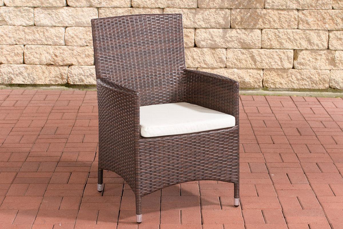 Polyrattan Stuhl Julia-braunmeliert-Cremeweiß | Wohnzimmer > Sessel > Rattansessel | Loraville