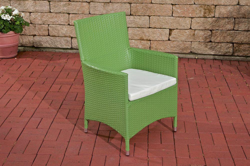 Polyrattan Stuhl Julia-grün_flach-Cremeweiß | Wohnzimmer > Sessel > Rattansessel | Loraville