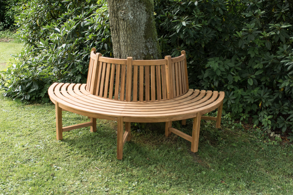 180° Baumbank Male mit Rückenlehne aus Teak-teak | Garten > Gartenmöbel > Gartenbänke | Loraville