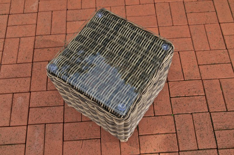 Glastisch Treviso 43 x 43 cm-rund_graumeliert | Wohnzimmer > Tische > Glastische | Loraville