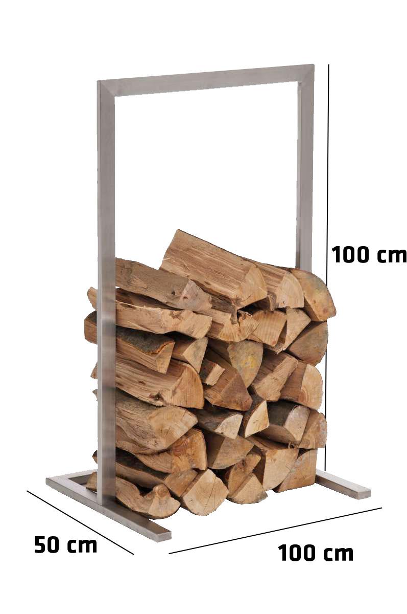 Kaminholzständer Sidone-100x100 cm-silber günstig online kaufen
