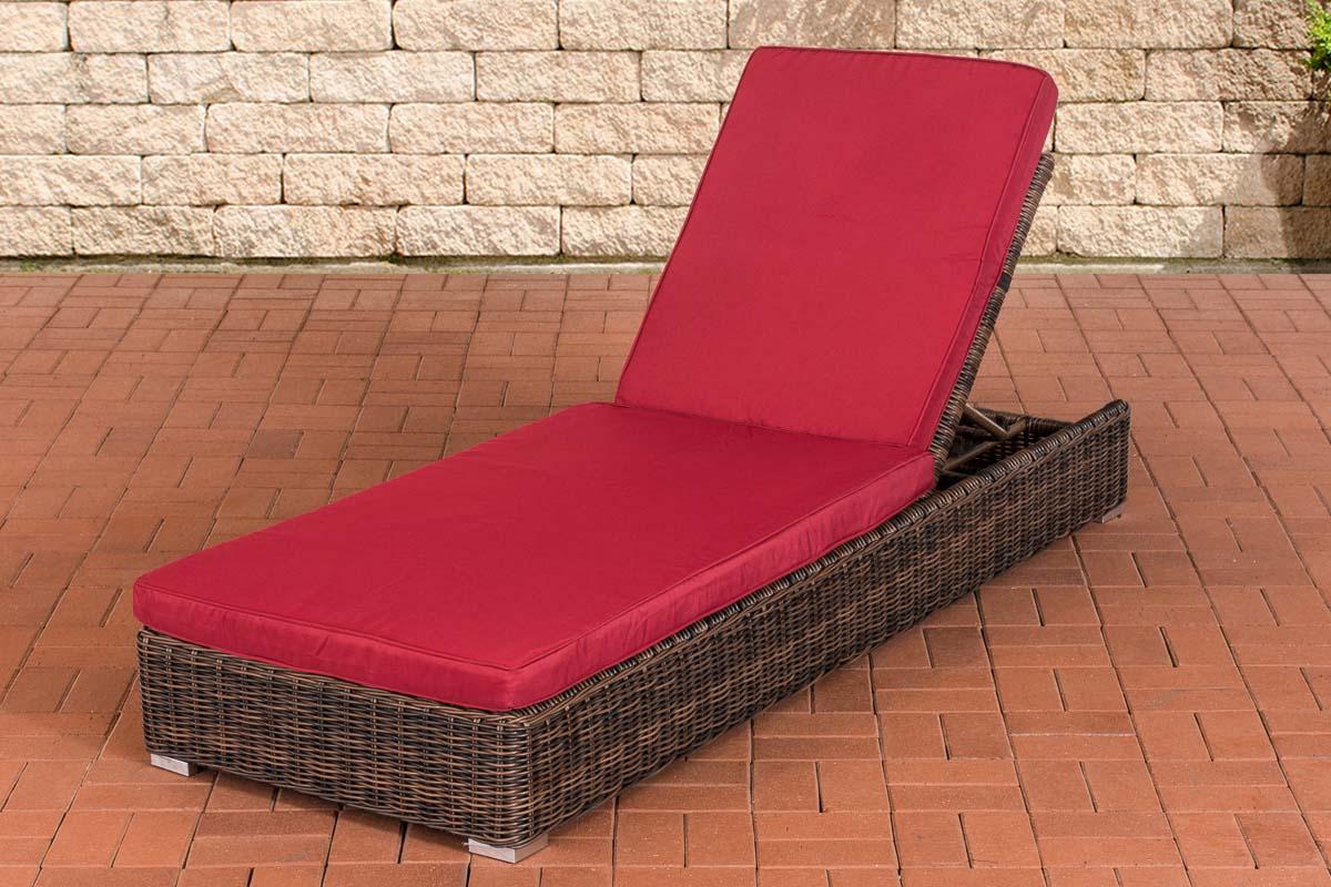 Sonnenliege Atessa-rund/braunmeliert-Rubinrot | Garten > Gartenmöbel > Gartenliegen | Loraville