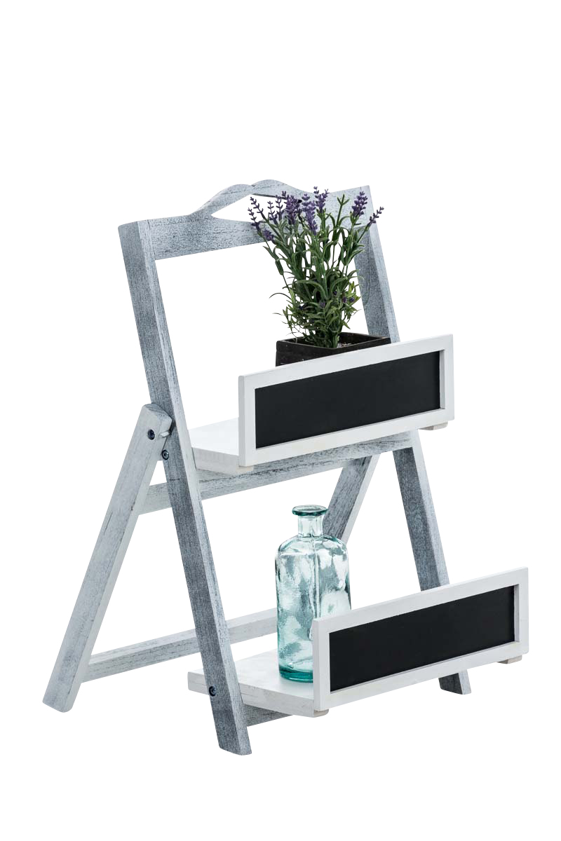 Treppenregal Linus -antik/grau | Wohnzimmer > Regale > Raumteiler | Grau | CLP