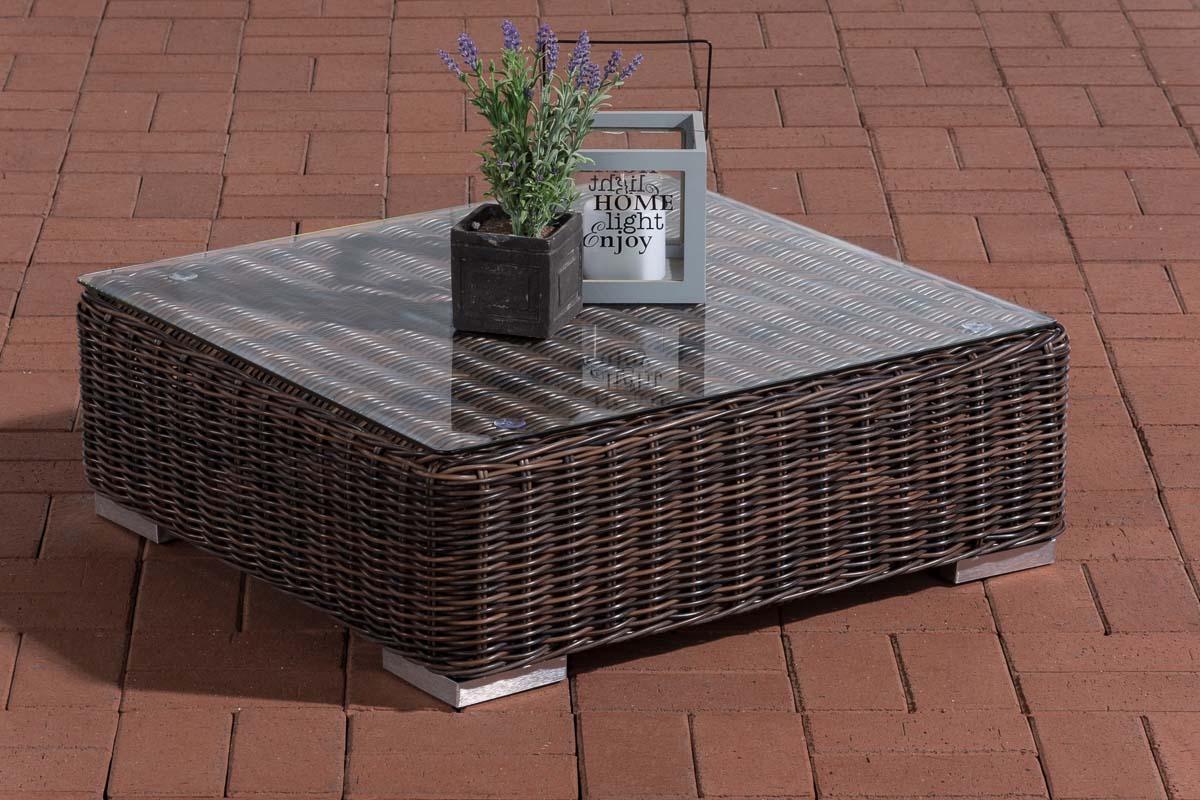 Glastisch Pamplona 70 x 70 cm-rund/braunmeliert | Wohnzimmer > Tische > Glastische | Loraville