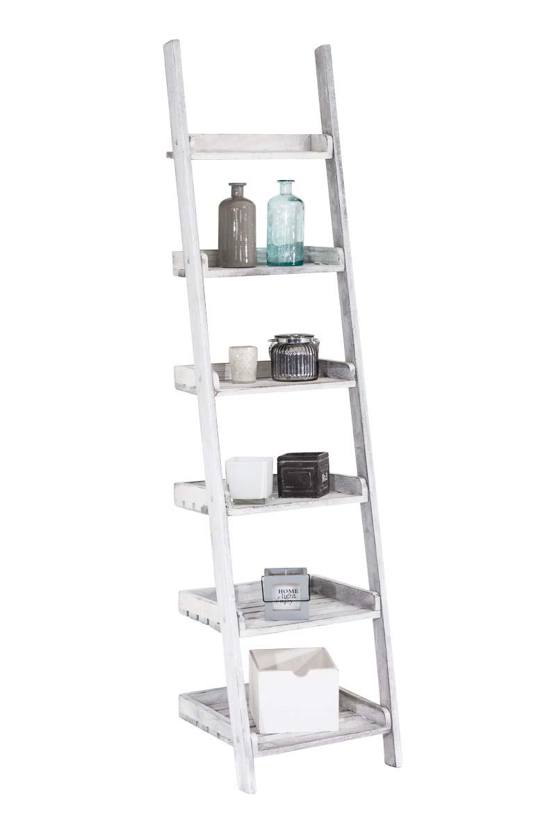 Treppenregal Yasmin-antik_weiß | Wohnzimmer > Regale > Raumteiler | Weiß | CLP