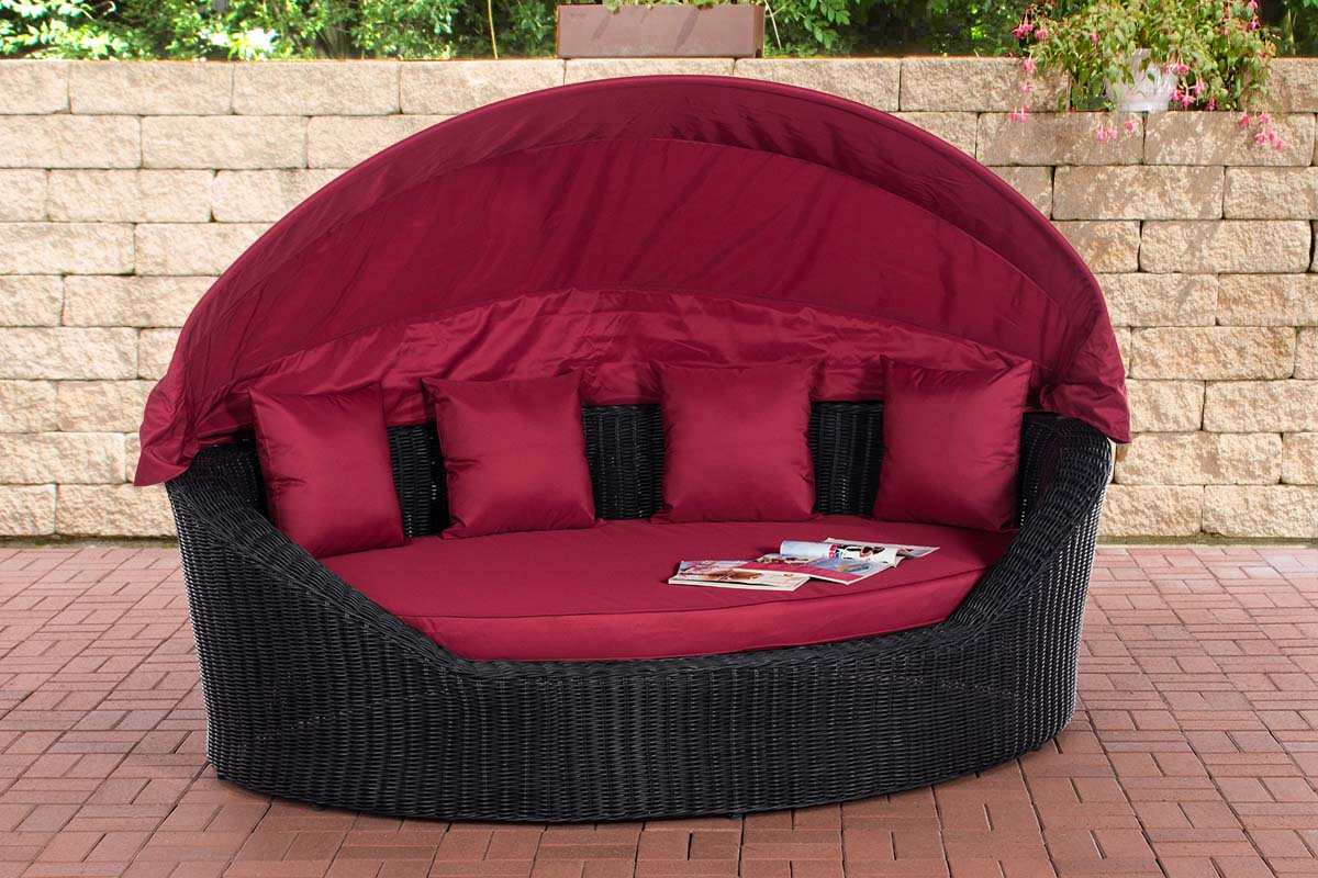 Sonneninsel Cancun 5mm-rund/schwarz-Rubinrot | Garten > Strandkörbe > Sonneninseln | Loraville