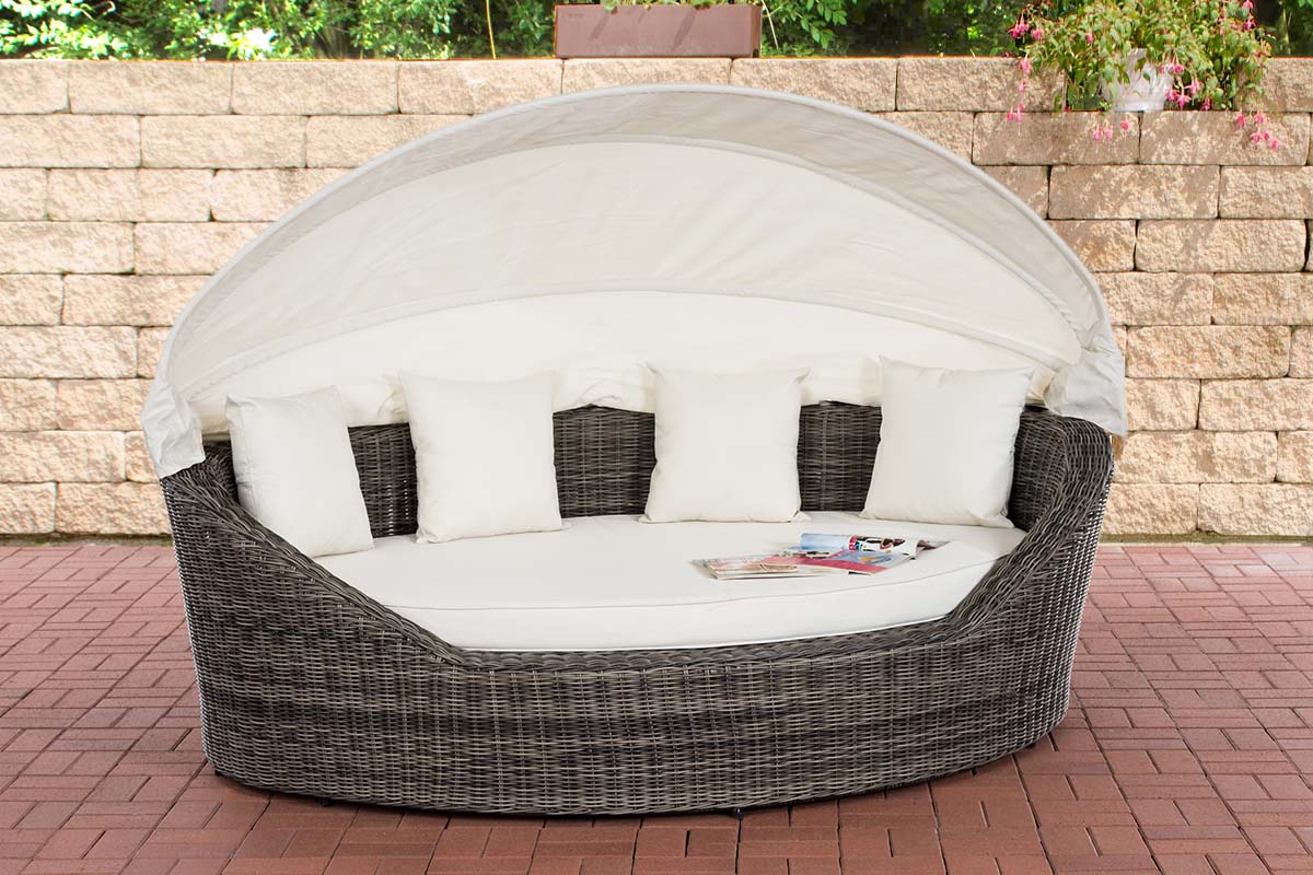 Sonneninsel Cancun 5mm-rund/graumeliert-Cremeweiß | Garten > Strandkörbe > Sonneninseln | Loraville