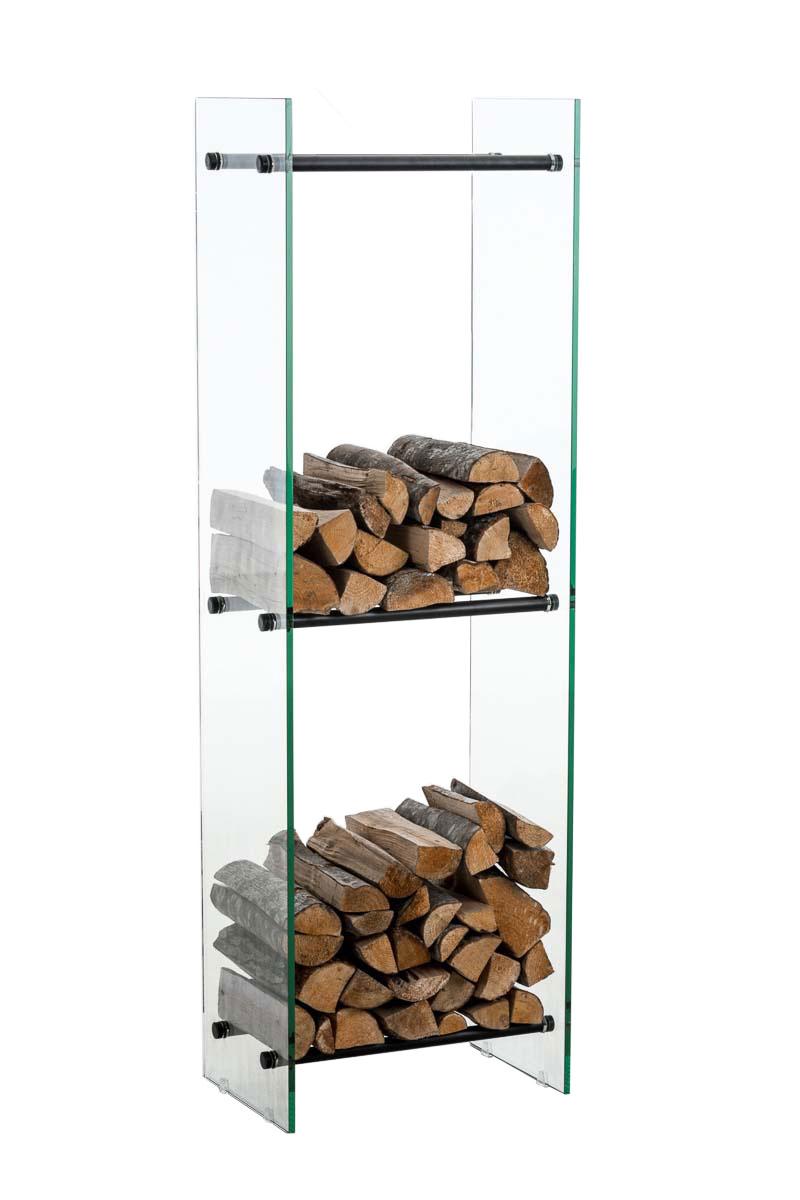Kaminholzständer Dacio Klarglas-schwarz-35x35x140 cm | Wohnzimmer > Kamine & Öfen > Kaminholzkörbe | Bauwerk Manufacture