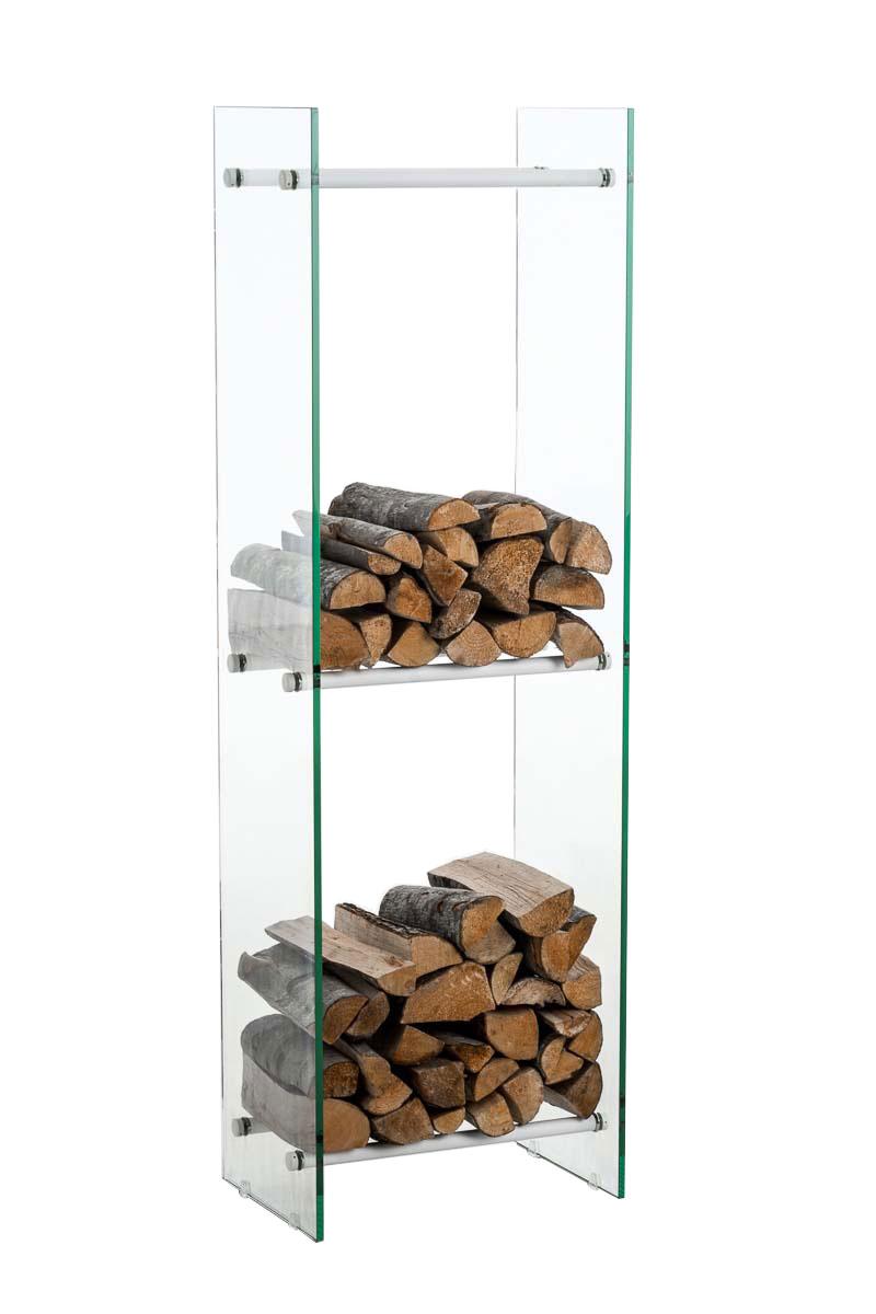 Kaminholzständer Dacio Klarglas-weiß-35x50x180 cm   Wohnzimmer > Kamine & Öfen > Kaminholzkörbe   Bauwerk Manufacture