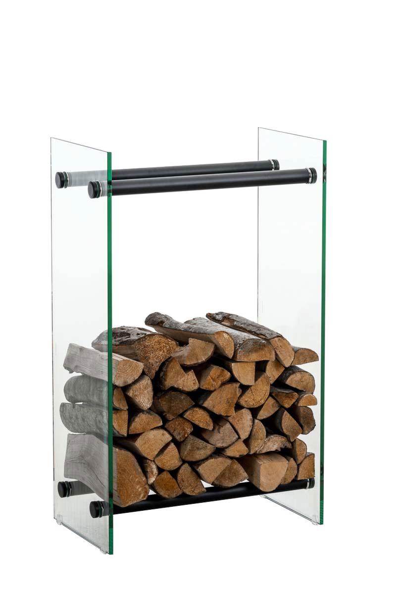 Kaminholzständer Dacio Klarglas-schwarz-35x80x100 cm | Wohnzimmer > Kamine & Öfen > Kaminholzkörbe | Bauwerk Manufacture