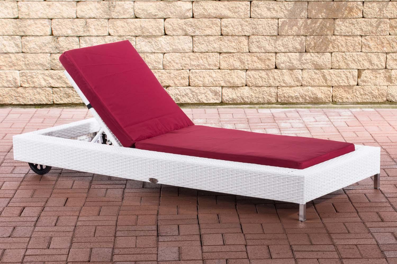 Sonnenliege Rosso-weiß/flach-Rubinrot | Garten > Gartenmöbel > Gartenliegen | Loraville