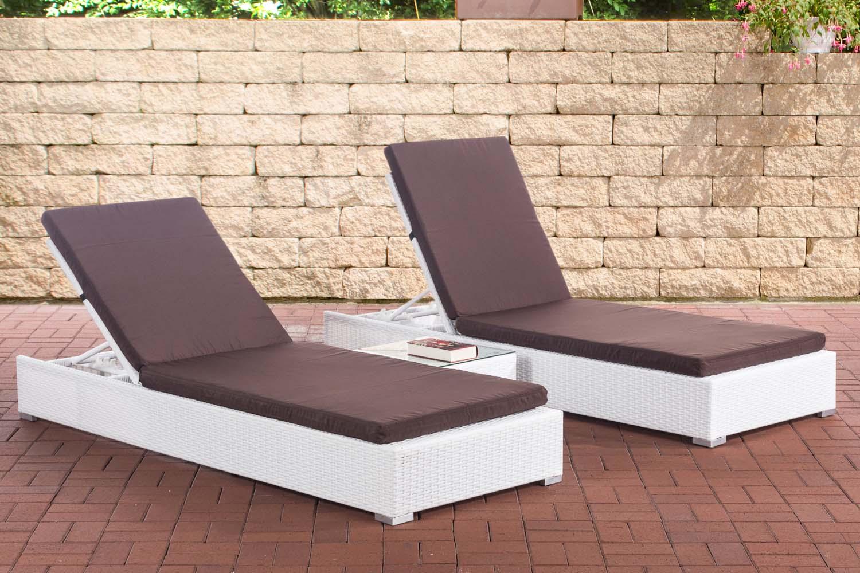 2x Sonnenliege Nadi mit Tisch-weiß-Terrabraun | Garten > Gartenmöbel > Gartenliegen | Loraville