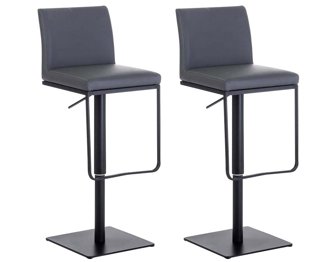 2er Set Barhocker Panama Kunstleder-grau-Schwarz | Küche und Esszimmer > Bar-Möbel > Barhocker | CLP