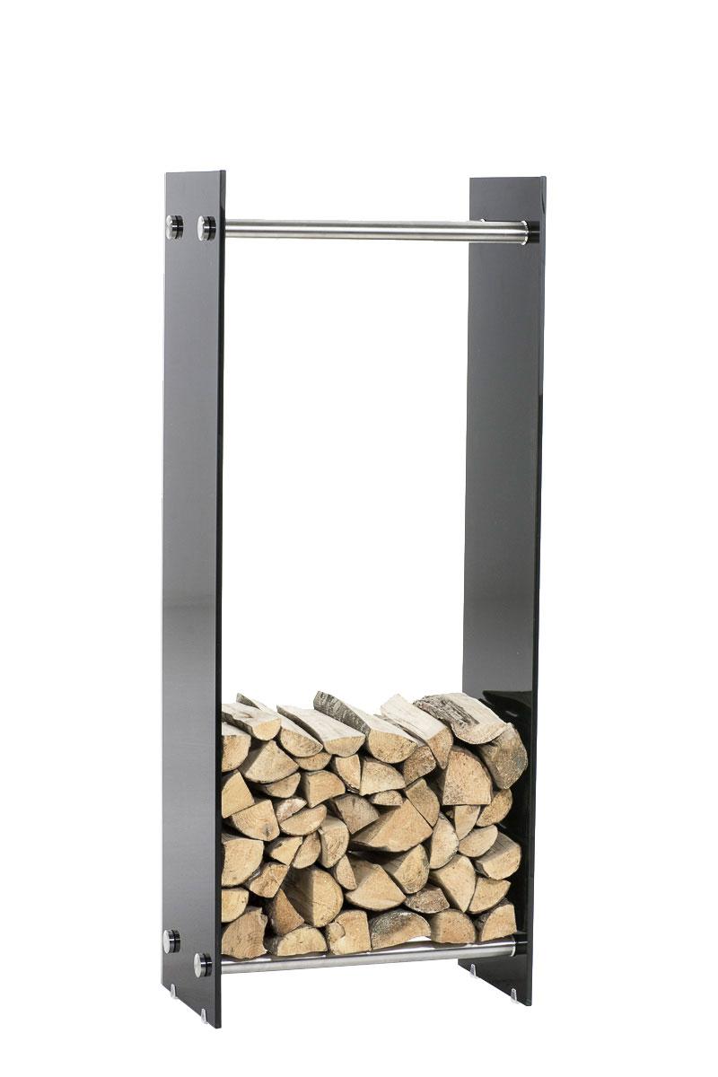 Kaminholzständer Dacio Schwarzglas-edelstahl-35x60x125 cm | Wohnzimmer > Kamine & Öfen | Bauwerk Manufacture