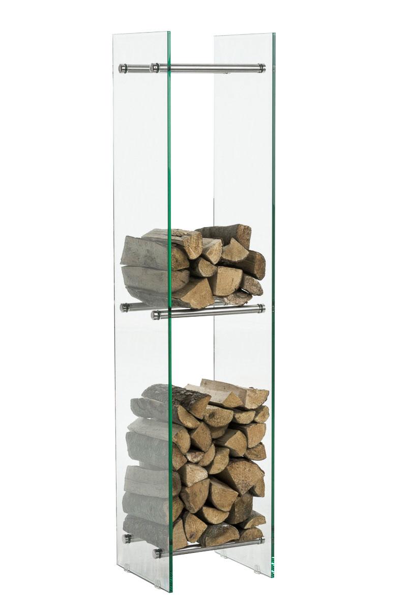 Kaminholzständer Dacio Klarglas-edelstahl-35x50x160 cm   Wohnzimmer > Kamine & Öfen > Kaminholzkörbe   Bauwerk Manufacture