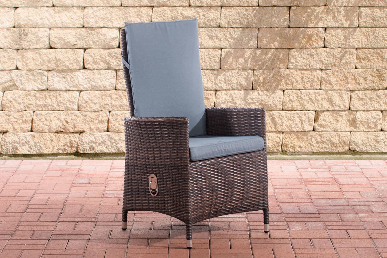 Polyrattan Stuhl Sevilla-braunmeliert-Eisengrau | Wohnzimmer > Sessel > Rattansessel | CLP