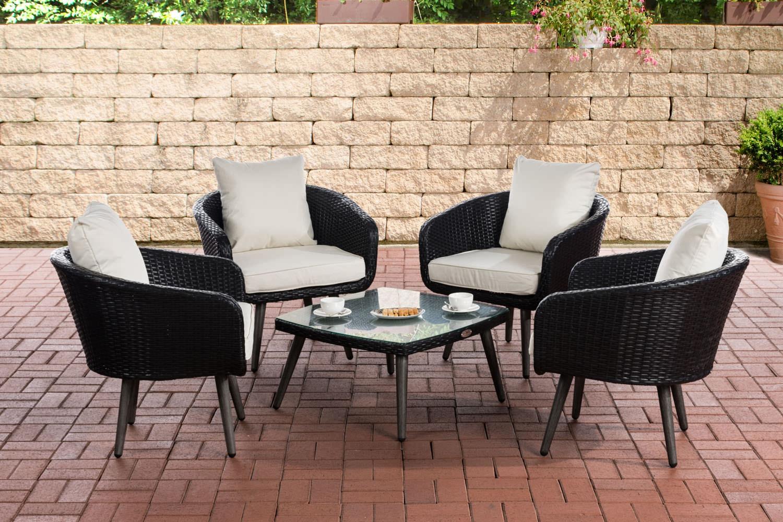 Lounge-Set Ameland schwarz-40 cm (Dunkelgrau)-Cremeweiß   Garten > Gartenmöbel > Loungemöbel-Garten   CLP