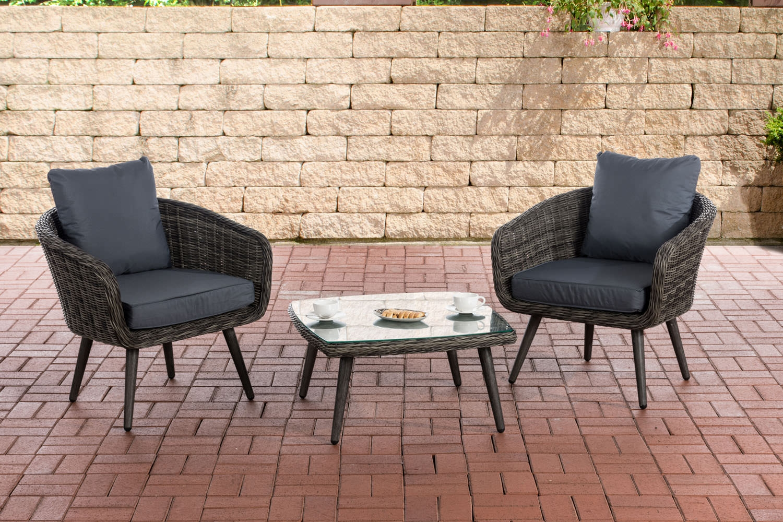 Balkon-Set Ameland Sitzhöhe 45 cm-graumeliert-Eisengrau | Garten > Balkon > Balkon-Sets | CLP