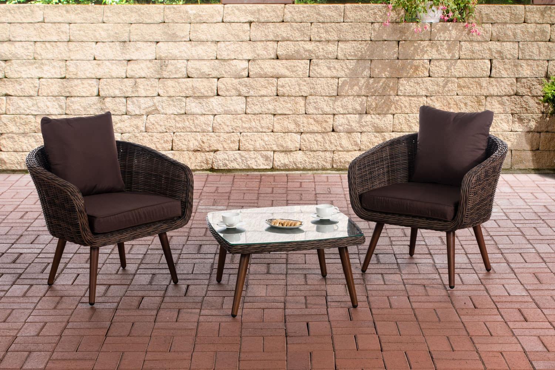Balkon-Set Ameland 5mm Sitzhöhe 40 cm-rund/braunmeliert-Terrabraun | Garten > Balkon > Balkon-Sets | CLP