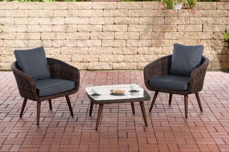 Balkon-Set Ameland 5mm Sitzhöhe 40 cm-rund/braunmeliert-Eisengrau | Garten > Balkon | CLP