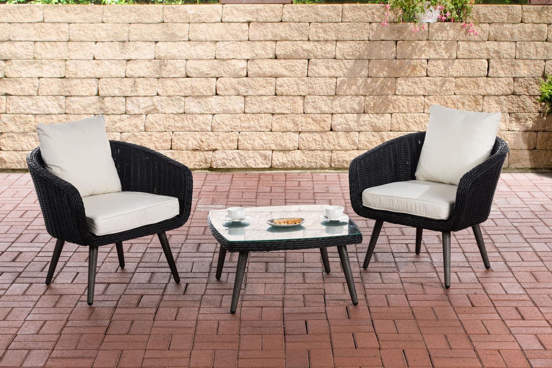 Balkon-Set Ameland 5mm Sitzhöhe 40 cm-rund/schwarz-Cremeweiß | Garten > Balkon > Balkon-Sets | CLP