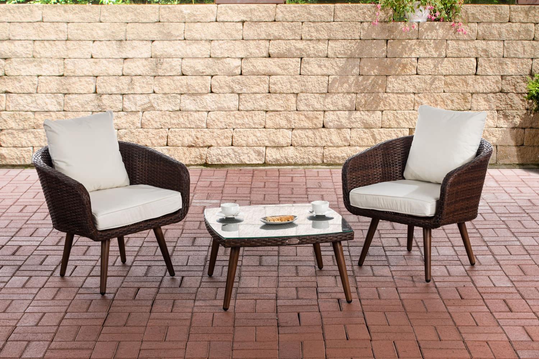 Balkon-Set Ameland Sitzhöhe 45 cm-braunmeliert-Cremeweiß | Garten > Balkon | CLP