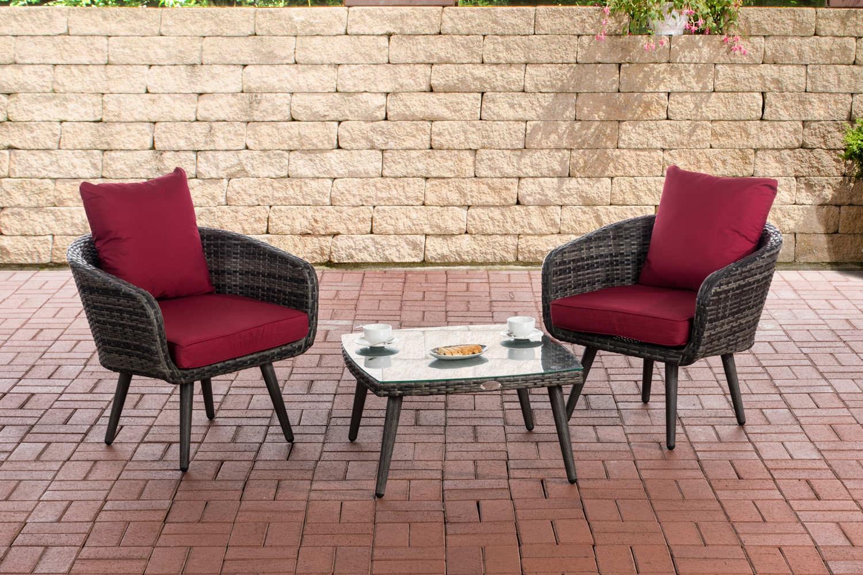 Balkon-Set Ameland Sitzhöhe 40 cm-graumeliert-Rubinrot | Garten > Balkon | CLP