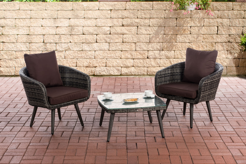 Balkon-Set Ameland Sitzhöhe 40 cm-graumeliert-Terrabraun | Garten > Balkon > Balkon-Sets | CLP