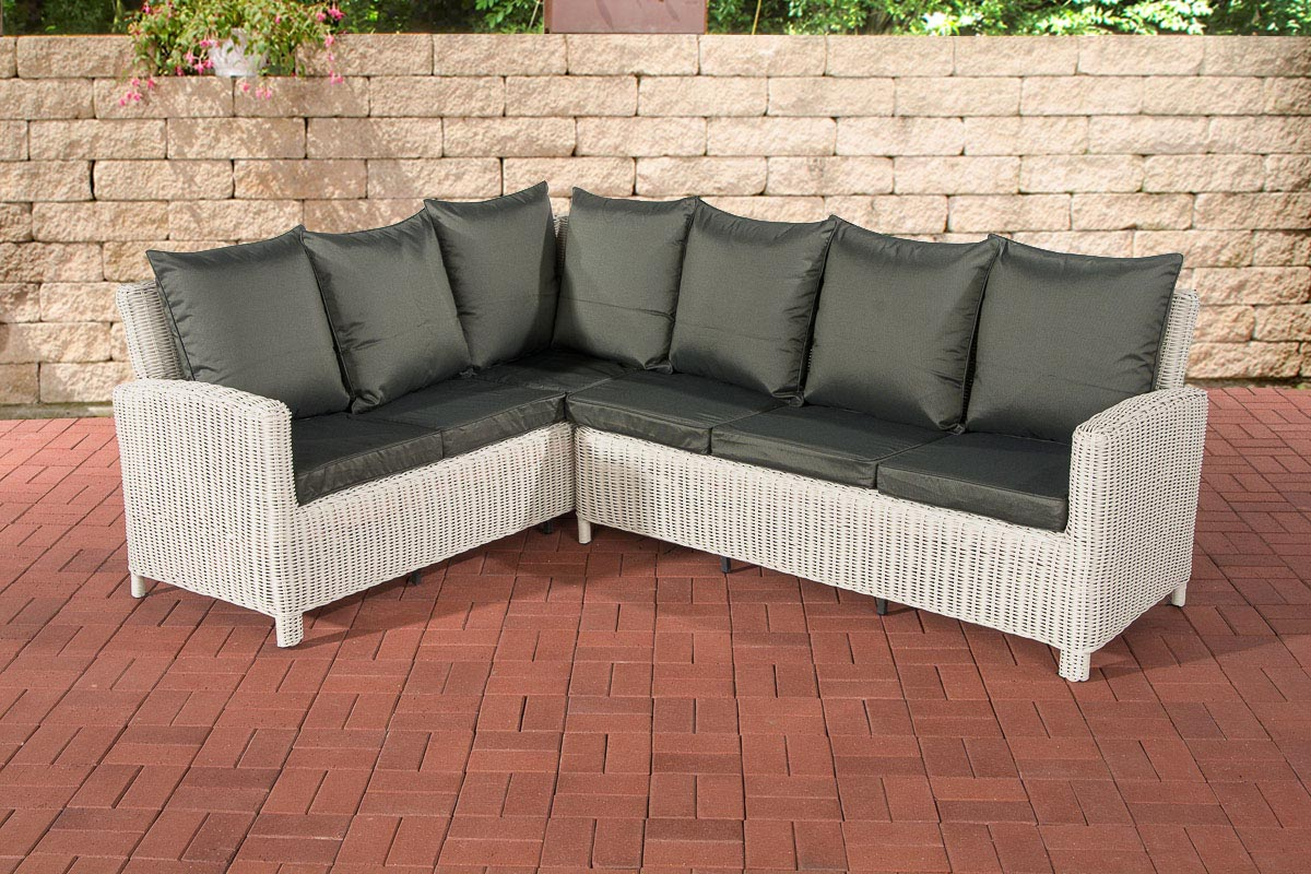 Rundrattan Sofa Bermeo 5mm-rund/perlweiß-Anthrazit | Garten > Gartenmöbel > Loungemöbel-Garten | Loraville