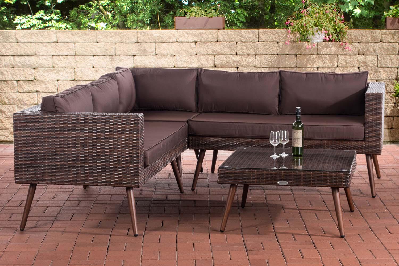 Eck-Loungeset Molde braun-meliert-40 cm (Dunkelbraun)-Terrabraun | Garten > Gartenmöbel > Loungemöbel-Garten | Loraville