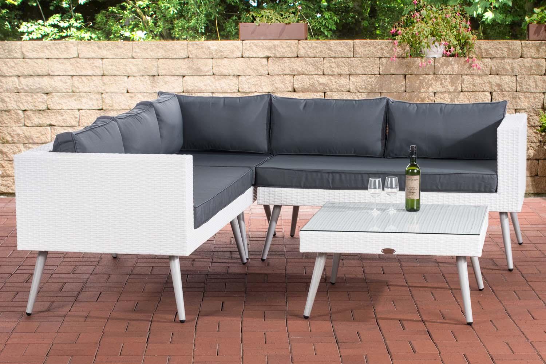Eck-Loungeset Molde Weiß-45 cm (Hellgrau)-Eisengrau | Garten > Gartenmöbel > Loungemöbel-Garten | Loraville
