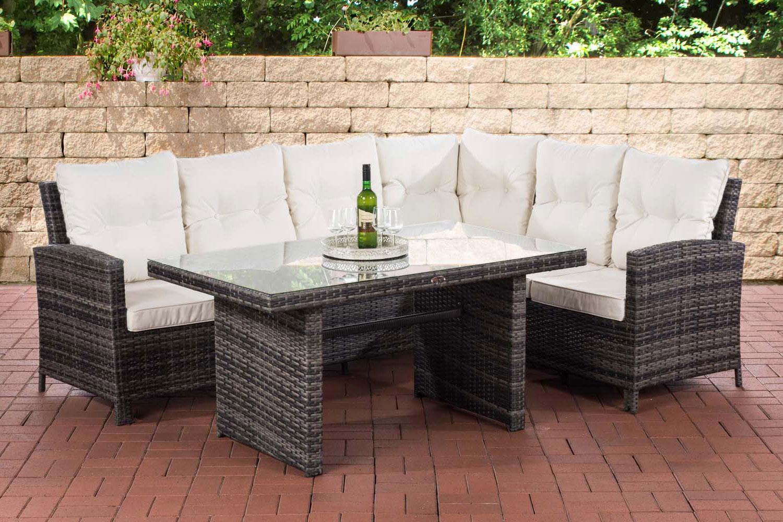 Gartengarnitur Minari-graumeliert-Cremeweiß | Garten > Gartenmöbel > Gartenmöbel-Set | Loraville