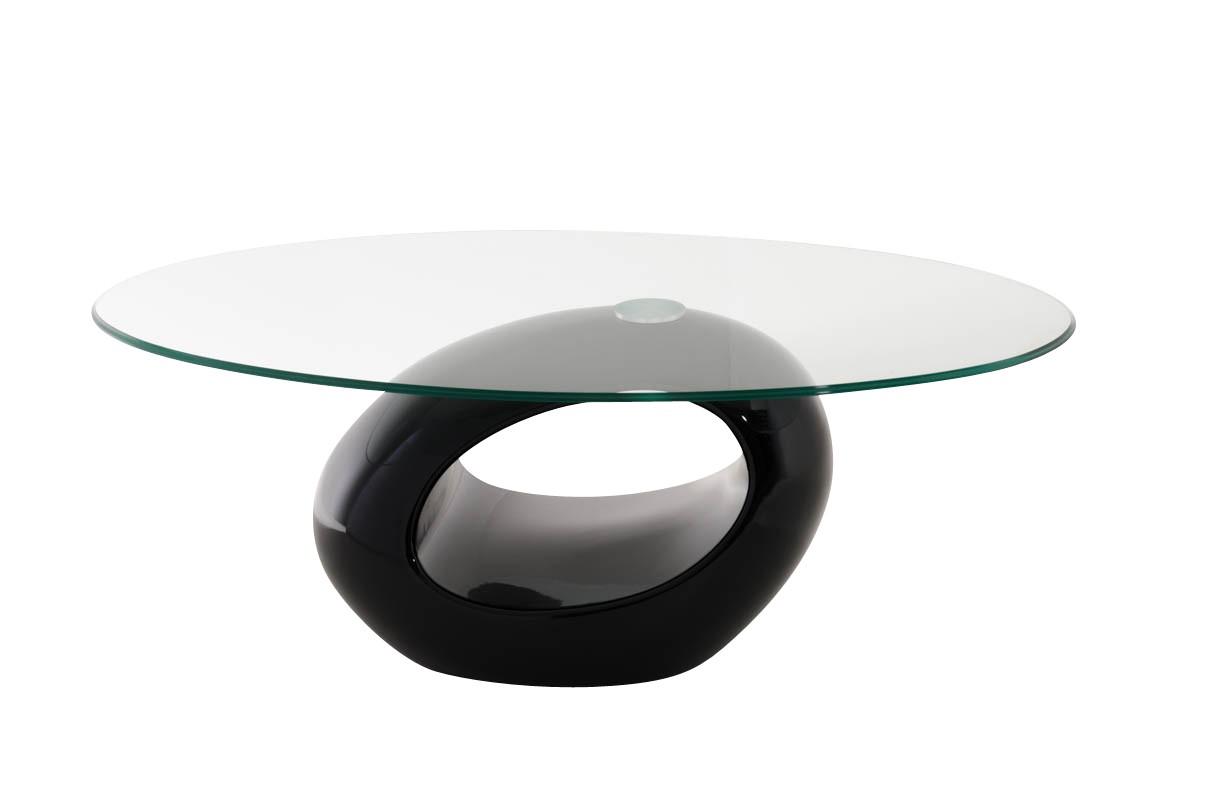 Couchtisch Charlie, oval, 106x64cm, Glas, hochglanz