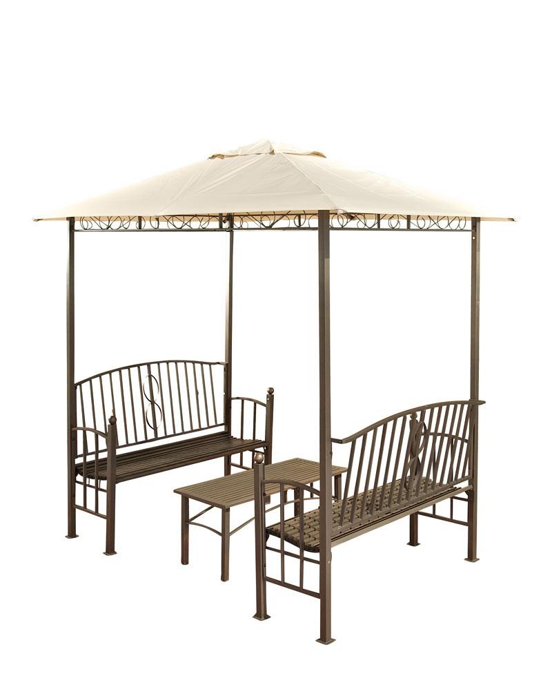 Pavillon mit 2 Bänken + Tisch