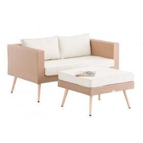 2er Sofa Molde mit Fußhocker Sand