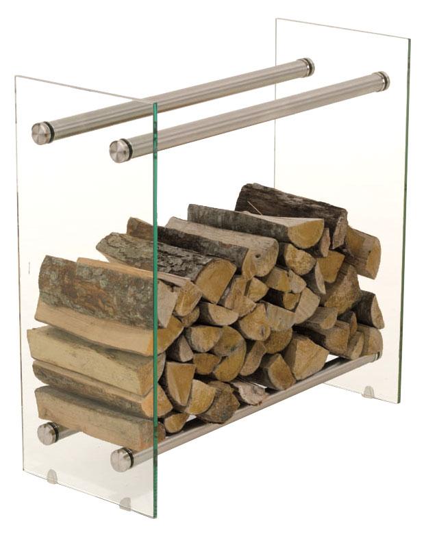Kaminholzständer Dacio Klarglas-edelstahl-35x60x60 cm | Wohnzimmer > Kamine & Öfen | Bauwerk Manufacture