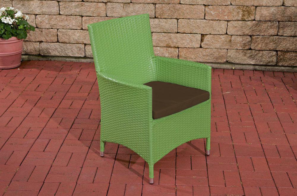 Polyrattan Stuhl Julia-grün_flach-Terrabraun | Wohnzimmer > Sessel > Rattansessel | Loraville